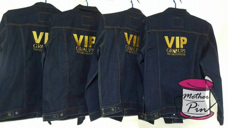 งานปักเสื้อแจ็คเก็ตยีนส์ VIP-GROUPS